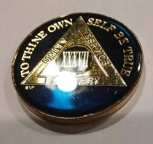 37-Year-AA-Sobriety-Coin-Medallion-Rich-Midnight-Blue-Enamel-37th-XXXVII