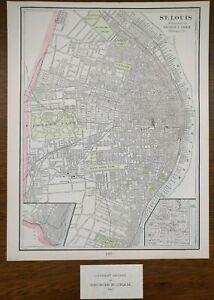 Vintage-1901-ST-LOUIS-MISSOURI-Map-11-034-x14-034-Old-Antique-Original-BENTON-PARK