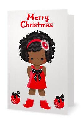 Greeting Cards Pack of 10 African American Girl Christmas Black Santa Claus