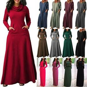Womens-Plain-Long-Sleeve-Party-Kaftan-Beach-Casual-Pocket-Long-Line-Maxi-Dress