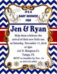 20 NAUTICAL BABY SHOWER INVITATIONS Printed with envelopes