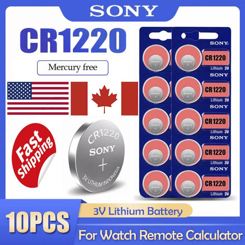 10 Pcs SONY CR1220 Lithium Cell Battery 3.0V DL1220 ECR1220 Exp. 2030