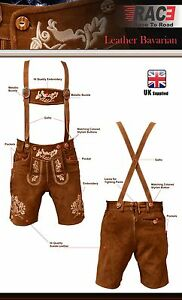 Mens-Bavarian-LEDERHOSEN-Cowhide-Brown-Leather-with-Matching-Suspenders-Shorts