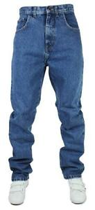 Mens-Straight-Leg-Denim-Jeans-Designer-Stonewash-Blue-Pants-Waist-Sizes-28-46