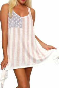c0fd00b594 USA Flag Women s Flare Dress Faded Vintage Look Cover Up