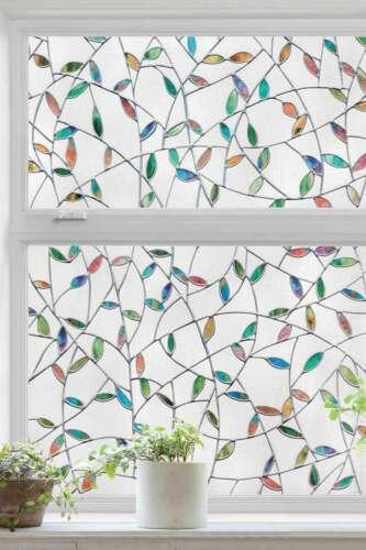 Valencia Leaves Pattern Window Film Print Stain Cling Glass Sticker UV Block DIY