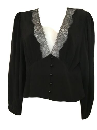 Wilfred Blouse Black Long Sleeve Lace Low V-Neck B