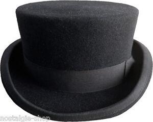 Zylinder-11cm-schwarz-Wolle-Hut-Wollfilz-Dressurreiten-Gothic-hat-Old-Shool