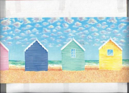 WALLPAPER BORDER BRIGHT BEACH HUT HOUSE NEW ARRIVAL OCEAN NAUTICAL