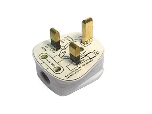 13 Amp 3 Broches Secteur Prise électrique Fondue avec Quick Fit Cord Grip Adaptateur-Gris