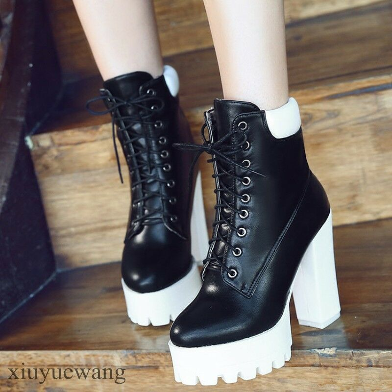 Korean Womens Casual Boots shoes Platform High Chunky Heels Pu Leather Plus Size