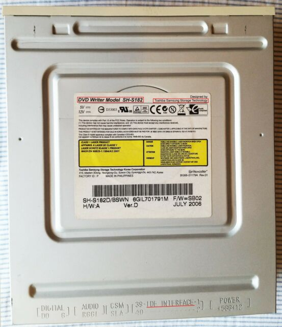 Toshiba Samsung Writemaster SH-S182D CD/DVD burner IDE desktop PC internal drive