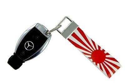 Keychain stripe key lanyard flag keyring ring car jdm band remote carbon black