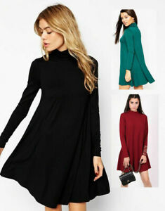 Womens-Turtleneck-Polo-Roll-Neck-Long-Sleeve-Swing-Skater-Ladies-Dress-Plus-Size
