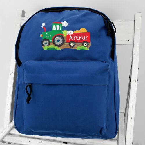 Personalised Tractor Blue Digger Children/'s Boy Back To School Rucksack Backpack