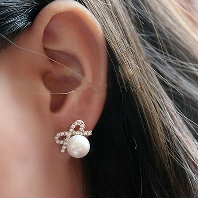 Female Crystal Bowknot Peal Earring Fashion Rhinestone Bow Big Pearl Ear Stud