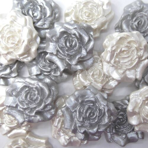 12 Silver /& White Pearl Sugar Roses silver anniversary wedding cake decorations