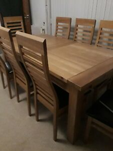 Solid Oak Huge To Seater Dining Table And Chairs EBay - 12 seater solid wood dining table