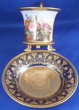 Empire Paris French Floral Footed Porcelain Cup & Saucer Porcelaine Tasse Vieux
