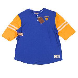 Golden-State-Warriors-Mitchel-amp-Ness-NBA-Home-Stretch-Henley-T-Shirt-Mens-5XL