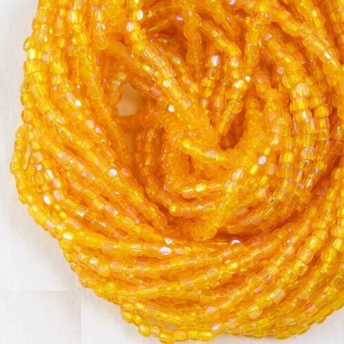 #CSP114 Tangerine AB 3-Cut Czech Seed Bead 5 Gm, Hank, 10 Hanks 9//0 Tr