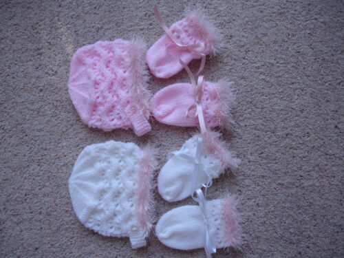 BRAND NEW HAND KNITTED BABY BONNET /& MITTENS #PRETTY#