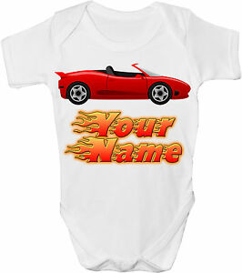 RED SPORTS CAR PERSONALISED BABY VEST GRO //BODYSUIT  *GREAT GIFT /& NAMED TOO *