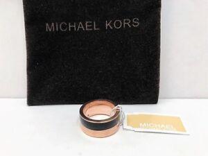 4f8b04eaa5cc0 Details about Michael Kors Rose Gold & Black Colorblock Band Ring w/ MK  Dust Bag, Sz 6