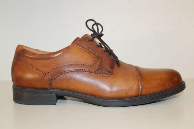 FLORSHEIM Comfortech Mens Cap Toe Oxford Shoes Sz 10 D Cognac Brown Leather Lace