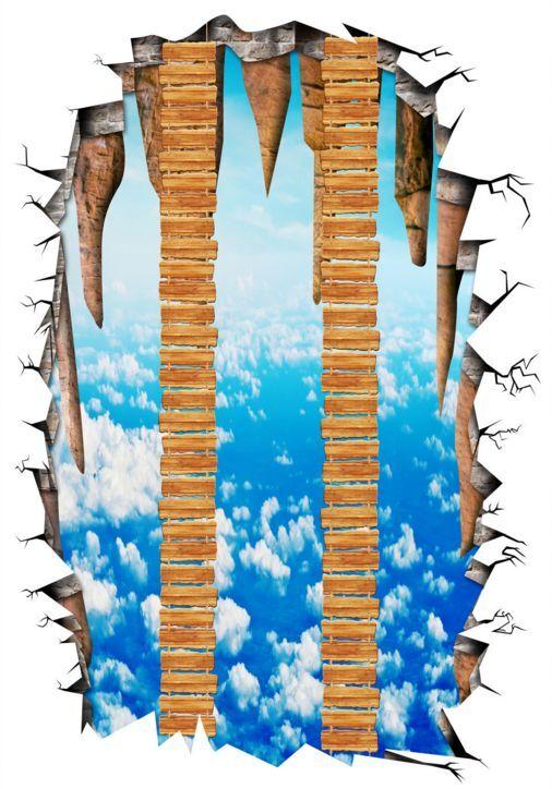 3D Flyover 6 Fond d'écran étage Peint en Autocollant Murale Plafond Chambre Art