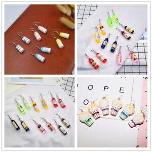 Novelty-Women-Resin-Drink-Wine-Milk-Bottle-Popcorn-Dangle-Ear-Stud-Hook-Earrings