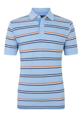 Brook Taverner Men/'s Devizes Sky Stripe 2 Tone Stripe Cotton Polo Casualwear