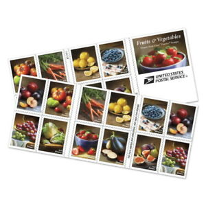 Fruits and Vegetables Book of 20 First Class Forever Stamps