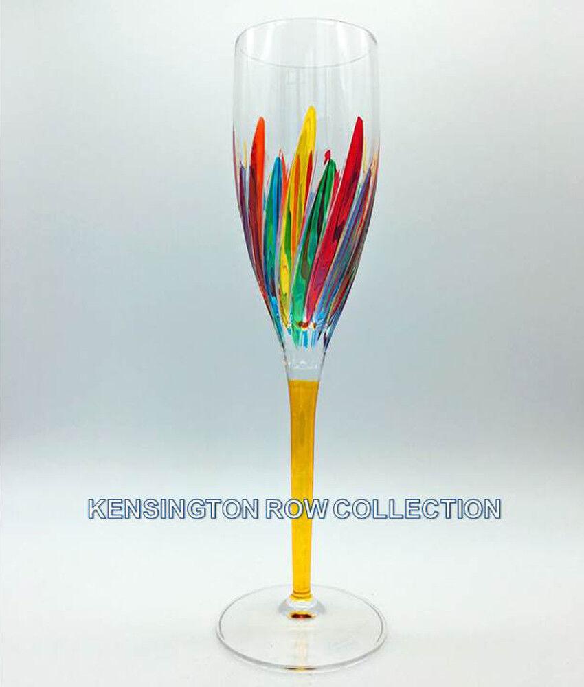 RAVENNA  CHAMPAGNE FLUTE - YELLOW STEM - HAND PAINTED VENETIAN GLASSWARE