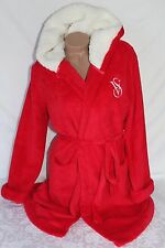 Victoria's Secret Bath Robe Cozy Hooded Short Monogram Fleece Hood Red M NWT $60