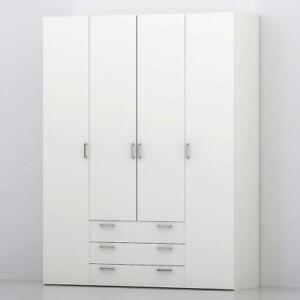 Das Bild Wird Geladen Kleiderschrank Suros Drehtuerenschrank Schlafzimmer  Schrank Weiss 154 Cm