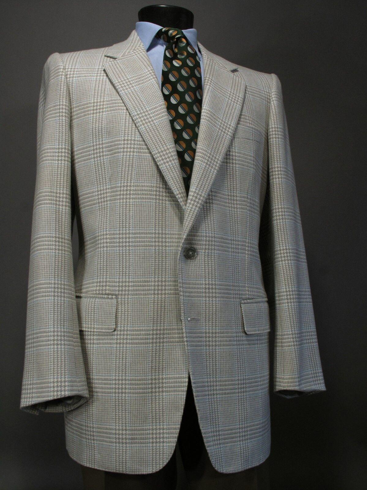 WILLIAM YU Bespoke Cashmere Sport Coat 44 L, Beige Plaid 2 Button