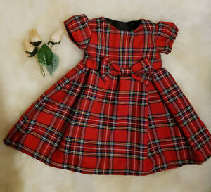 Infant Kid Baby Girl Princess Party Dress Red Plaid Bowknot Tutu Dresses Clothes
