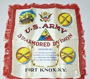Antique-U-S-Army-3rd-Armored-Division-WWII-Scarf-with-Original-Box-Fort-Knox