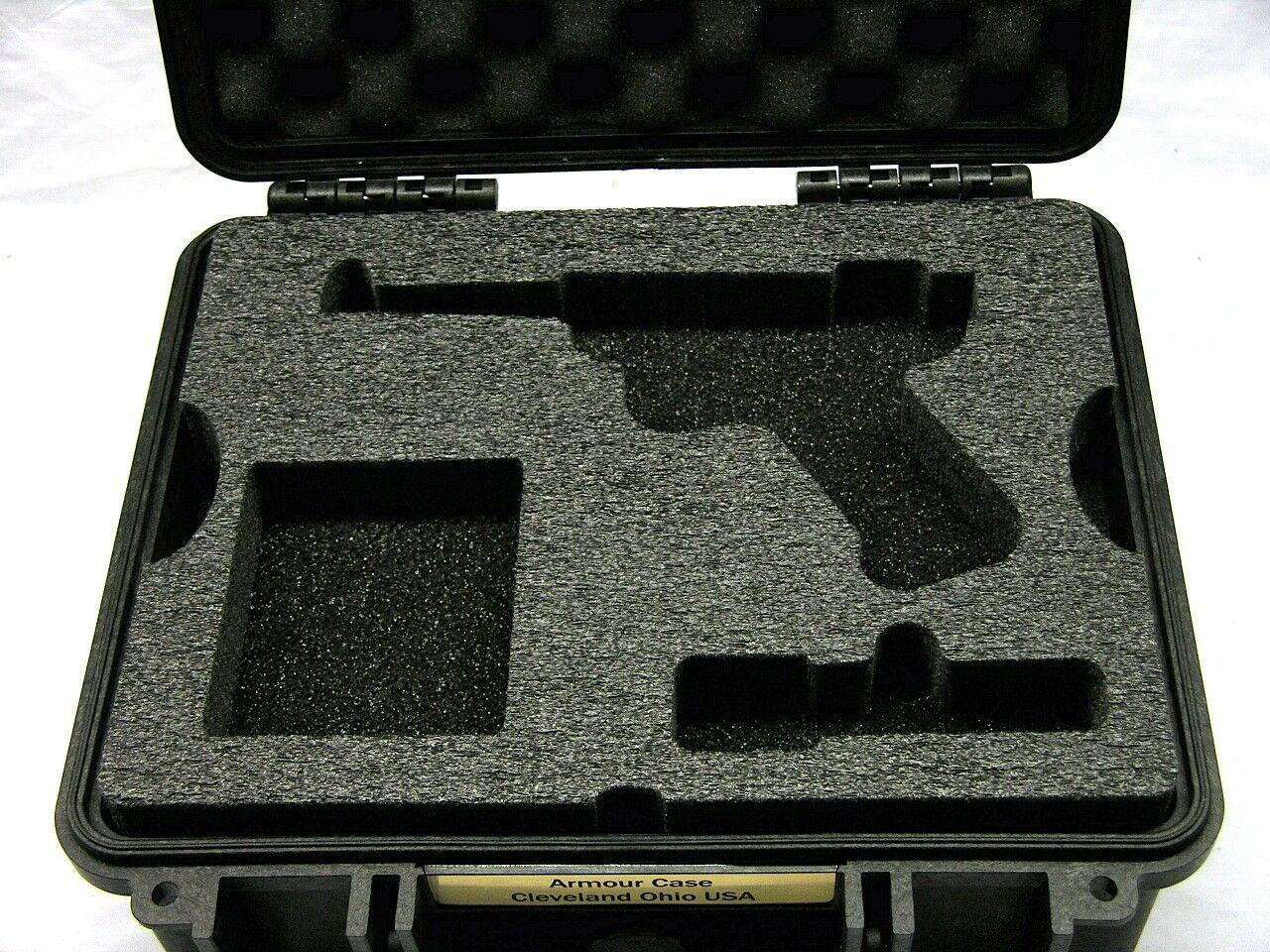 Armadura negra caso + Espuma se ajusta Ruger Mark II Precortada pistola Equiv. Pelican 1400
