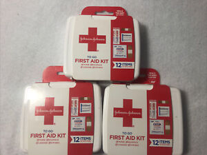 3 Pack Johnson & Johnson 12 pc First Aid Kit To Go Emergency Kits Purse, Luggage