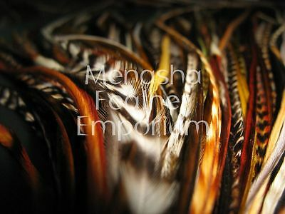 """25pc 6+/"""" NATURAL MIX 100/% WHITING GRIZZLY Wholesale Feather Hair Extensions"""