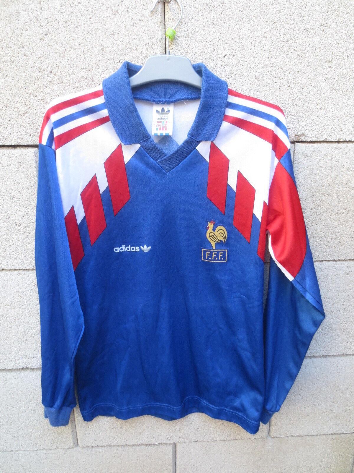 Maillot EQUIPE DE FRANCE vintage ADIDAS shirt trikot 1990 maglia ancien 12 ans
