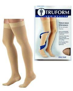 New-TRUFORM-sz-S-Beige-Compression-Classic-Thigh-High-Stockings-20-30-mmHg