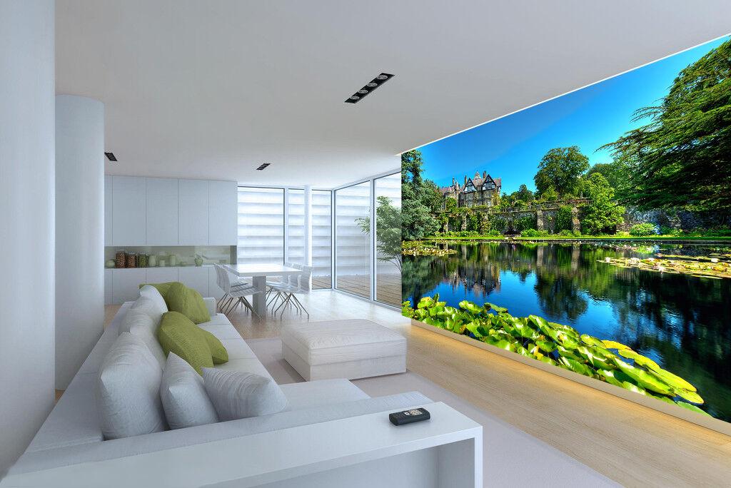 3D lake lotus beautiful view Wall Paper Print Decal Wall Deco Indoor wall Mural