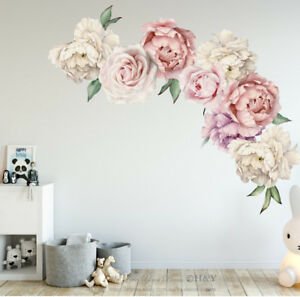 Details About Peony Rose Flowers Wall Sticker Art Nursery Decals Kids Room Home Decor Gift