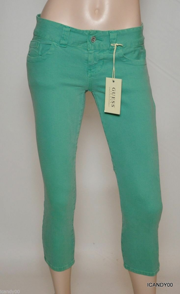New GUESS Cropped Stretch Jeans Low Rise Denim Capri Pants Mint Green 26