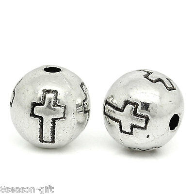 "50PCs Metal Beads Silver Tone Cross Carved Round 8mm Dia.( 3/8"")"