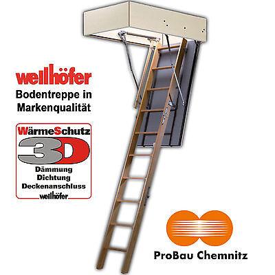 Wellhöfer Bodentreppe GutHolz, 140x70 cm, 3D Wärmeschutz, inkl. Handlauf + Lief.