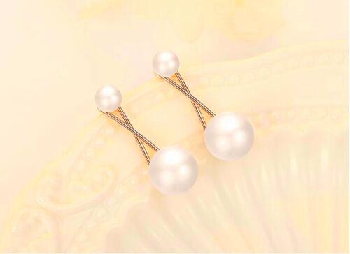 X Blanco Perla Ear Stud Pendientes de plata esterlina 925 Mujeres Niña Joyeria Regalo UK